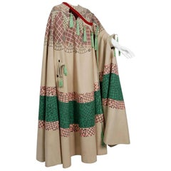 Vintage 1970 Zandra Rhodes Couture Graphic Print Wool Tassels Full-Length Cape