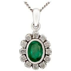 Vintage 1970s 1.02 Carat Emerald and Diamond White Gold Pendant