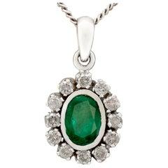 Vintage 1970s 1.02 Carat Emerald and Diamond White Gold Pendant