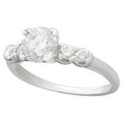 Vintage 1970s 1.21 Carat Diamond and Platinum Engagement Ring