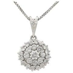Vintage 1970s 1.38 Carat Diamond White Gold Cluster Pendant