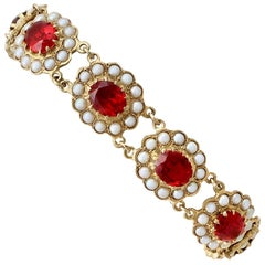 Vintage 1970s 13.95 Carat Garnet and Pearl Yellow Gold Bracelet