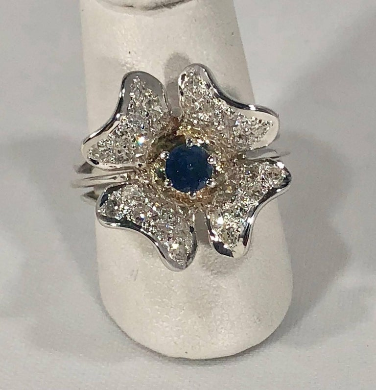 Vintage 1970s 14 Karat Sapphire and Diamond Flower Cocktail Ring For Sale 5