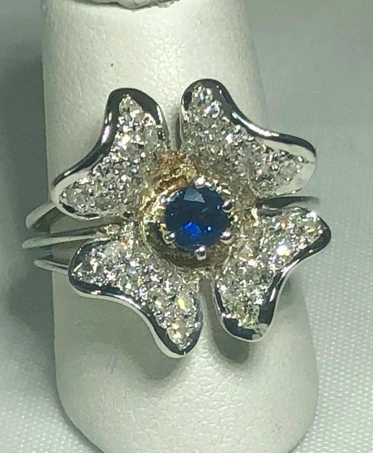 Vintage 1970s 14 Karat Sapphire and Diamond Flower Cocktail Ring For Sale 6