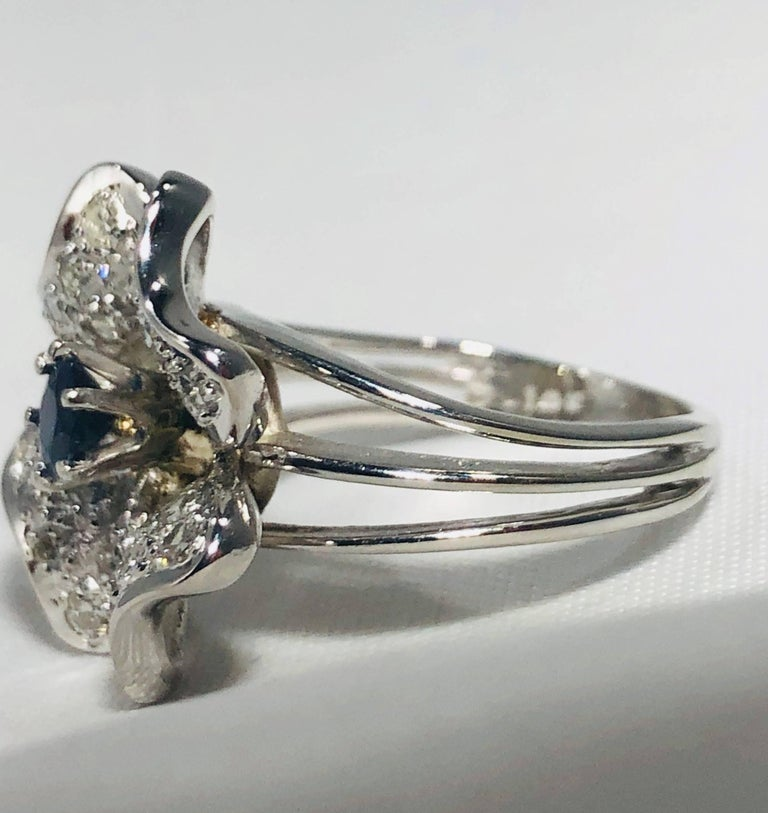 Vintage 1970s 14 Karat Sapphire and Diamond Flower Cocktail Ring For Sale 7