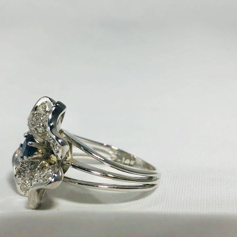 Vintage 1970s 14 Karat Sapphire and Diamond Flower Cocktail Ring For Sale 8