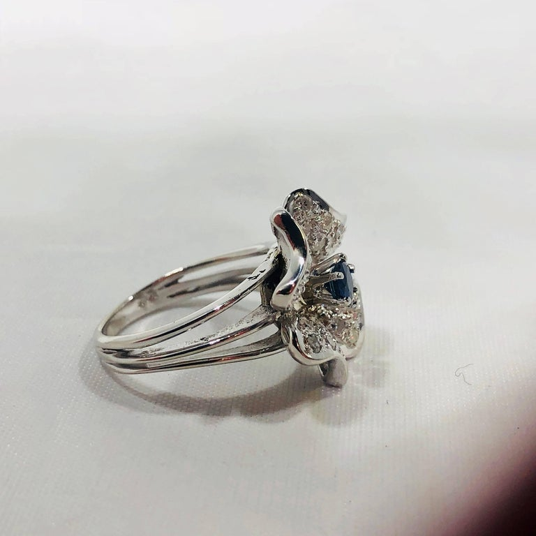 Vintage 1970s 14 Karat Sapphire and Diamond Flower Cocktail Ring For Sale 10