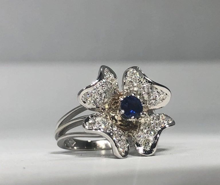 Vintage 1970s 14 Karat Sapphire and Diamond Flower Cocktail Ring For Sale 2
