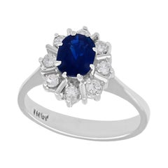 Vintage 1970s 1.42 Carat Sapphire and Diamond White Gold Cocktail Ring