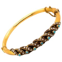 Vintage 1970's 14K Yellow Gold Bangle Bracelet with Turquoise and Seed Pearls