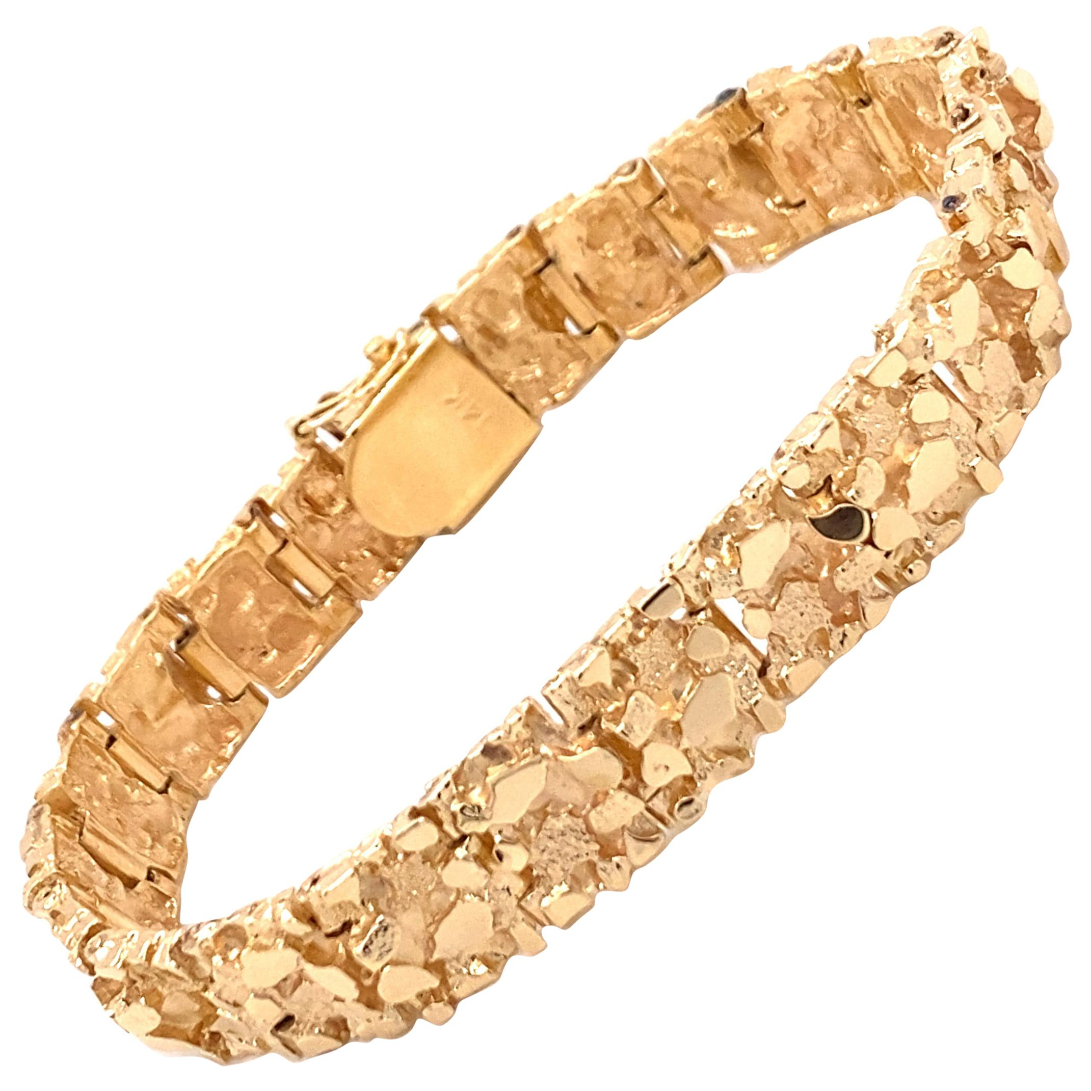 Vintage 1970's 14K Yellow Gold Nugget Bracelet