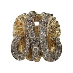 """Vintage 1970's 14k Yellow Gold Nugget Diamond Initial """"M"""" Ring"""