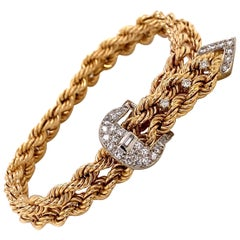 Vintage 1970s 14KY Gold Rope Bracelet with Adjustable Diamond Buckle Clasp