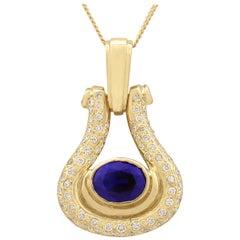 Vintage 1970s 1.59 Carat Sapphire Diamond Yellow Gold Pendant