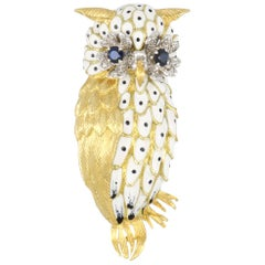 Vintage 1970s 18 Karat Gold White Enamel Owl Brooch with Diamonds and Sapphires