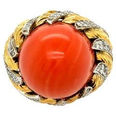 Vintage 1970s 18 Karat Red Coral Diamond Bombe Ring by Kutchinsky