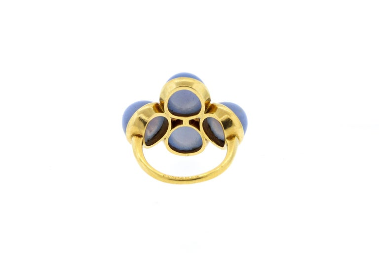 Modern Vintage 1970s 18 Karat Gold Cartier Cabochon Chalcedony Bubble Ring For Sale