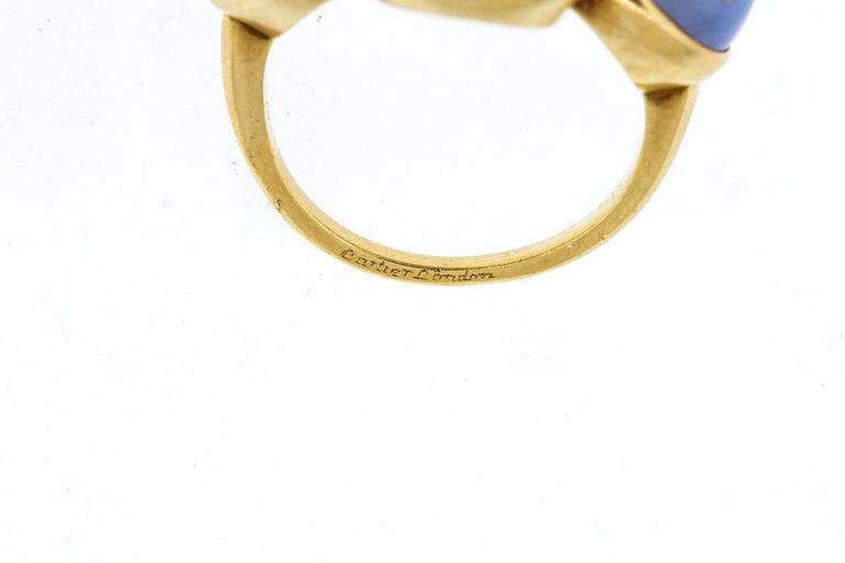 Vintage 1970s 18 Karat Gold Cartier Cabochon Chalcedony Bubble Ring For Sale 1