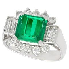 Vintage 1970s 3.05 Carat Emerald Diamond White Gold Cocktail Ring