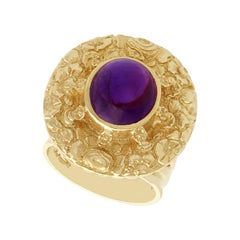 Vintage 1970s 3.77 Carat Amethyst and Yellow Gold Cocktail Ring