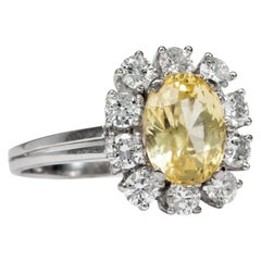 Vintage 1970s 3.8 Carat No Heat Fancy Yellow Sapphire Diamond Entourage Ring