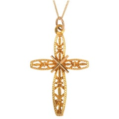 Vintage 1970s 9 Carat Yellow Gold Cross Pendant