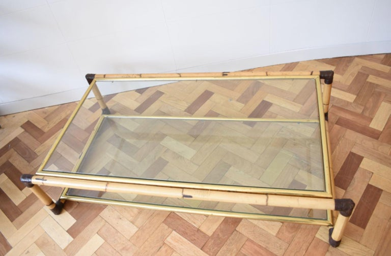 American Colonial Vintage 1970's Alberto Smania Italian Bamboo and Glass Coffee Table