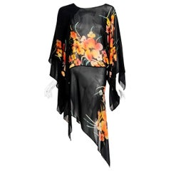 Vintage 1970's Alice Pollock Floral Chiffon Kimono-Sleeve Asymmetric Tunic Dress
