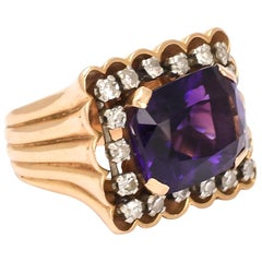 Vintage 1970s Amethyst Diamond Statement Ring