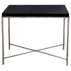 Vintage 1970s Bamboo Nickel-Plated Brass Console with Black Lucite Top
