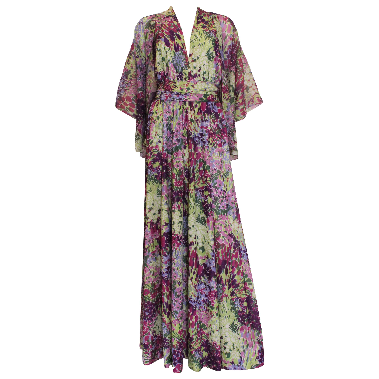 Vintage 1970s Berketex Floral Gown with Bolero