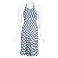 Vintage 1970's Biba London Blue & Ivory Checkered Print Jersey Halter Dress