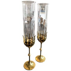 Vintage 1970s Bjorn Wiinblad Brass and Glass Pair of 'Hurricane' Candleholders