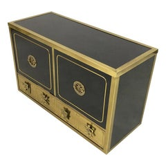 Vintage 1970s Black Lacquer and Brass Cabinet by Mastercraft