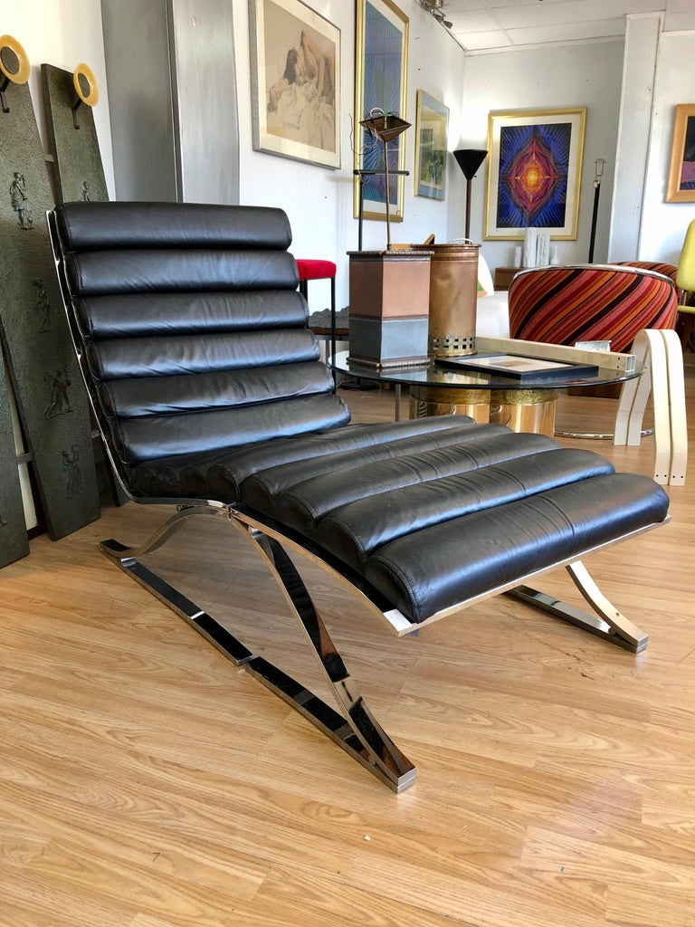 Vintage 1970s Black Leather Channel Back Lounge Chaise with Ottoman by D. I. A. For Sale 5