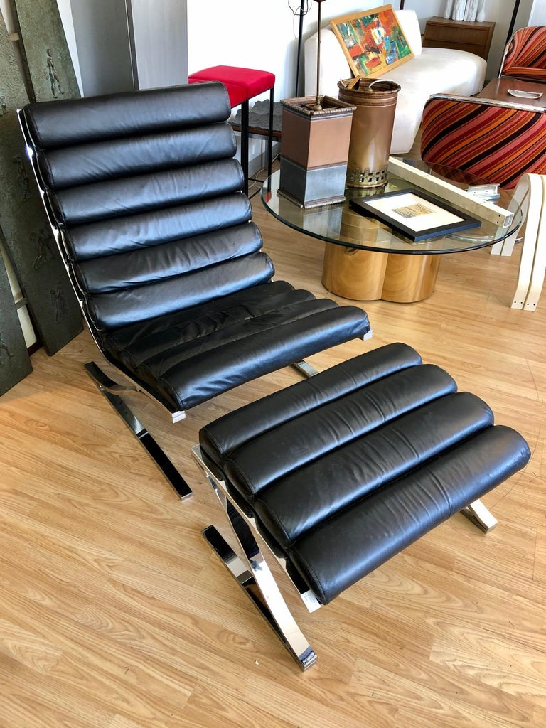 Mid-Century Modern Vintage 1970s Black Leather Channel Back Lounge Chaise with Ottoman by D. I. A. For Sale