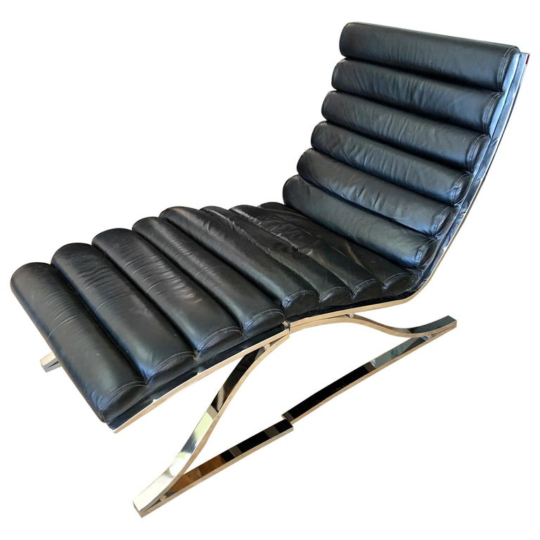 Vintage 1970s Black Leather Channel Back Lounge Chaise with Ottoman by D. I. A. For Sale