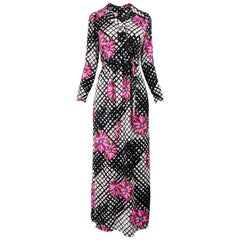 Vintage 1970s Black & White Print Maxi Dress