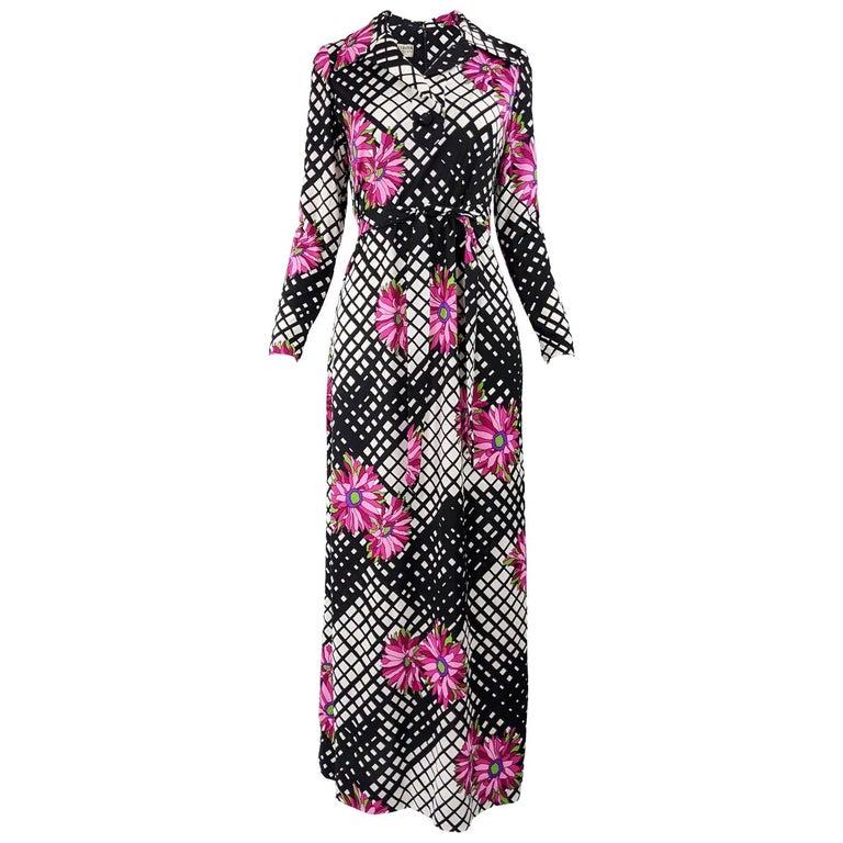 Vintage 1970s Black & White Print Maxi Dress For Sale