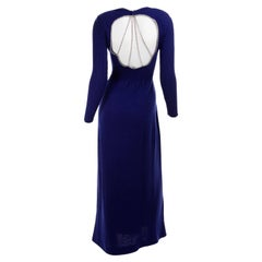 Vintage 1970s Blue Knit Evening Dress With Open Back and Rhinestones