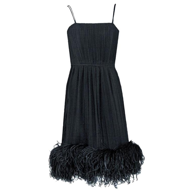 Vintage 1970's Bob Mackie Black Pleated Silk & Ostrich-Feathers Dress w/ Tags