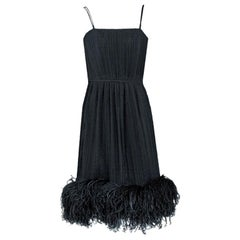 Vintage 1970's Bob Mackie Black Pleated Silk & Ostrich-Feathers Dress w/ Tags