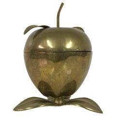 Vintage 1970s Brass Apple Keepsake Bowl