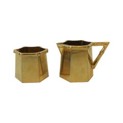 1970s Brass Bamboo Creamer and Sugar Set in the Hollywood Regency Style