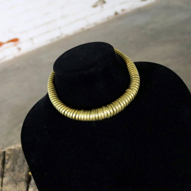 Late 20th Century Vintage 1970s Brass Coil Choker Necklace and Cuff Bracelet For Sale