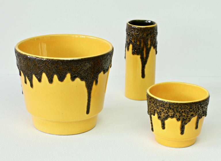 Mid-Century Modern Vintage 1970s Bright Yellow West German Pottery Fohr Vase with Black Lava Glaze For Sale