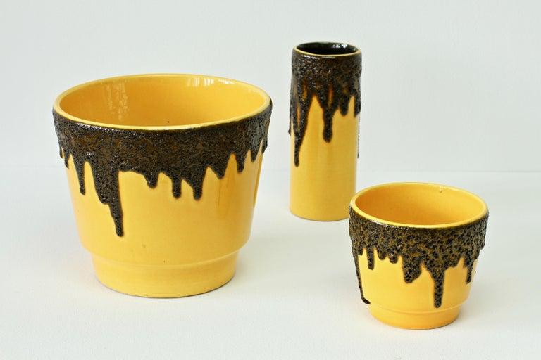 Glazed Vintage 1970s Bright Yellow West German Pottery Fohr Vase with Black Lava Glaze For Sale