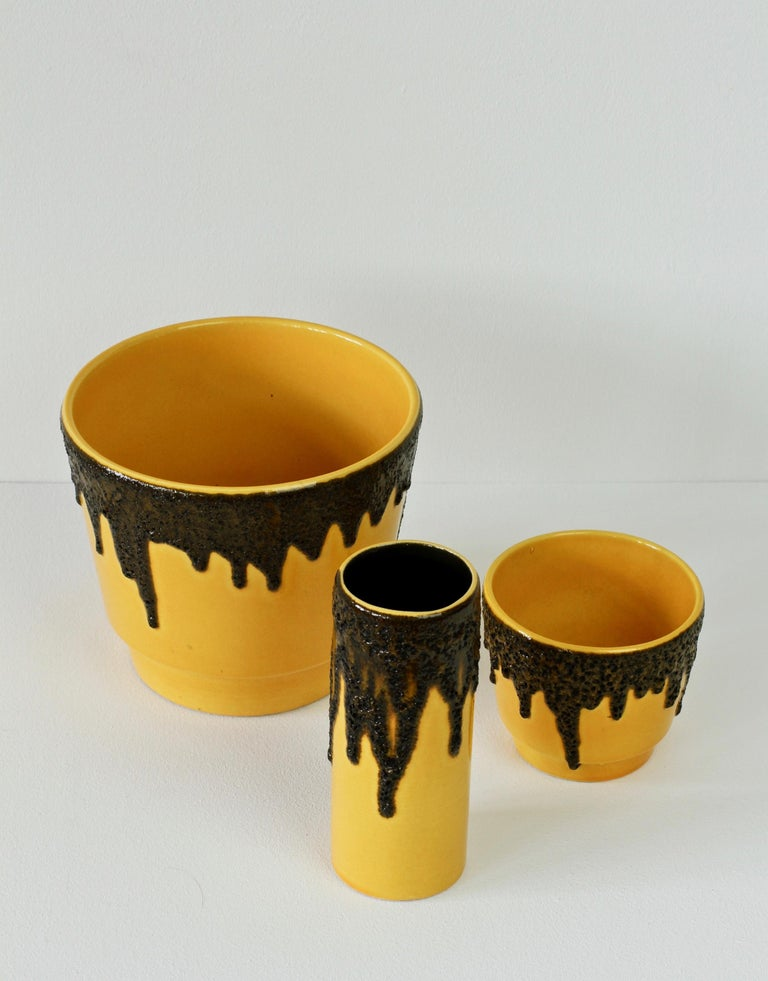 Clay Vintage 1970s Bright Yellow West German Pottery Fohr Vase with Black Lava Glaze For Sale