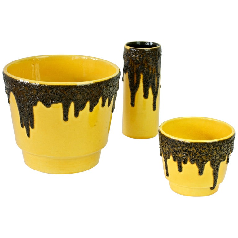 Vintage 1970s Bright Yellow West German Pottery Fohr Vase with Black Lava Glaze For Sale