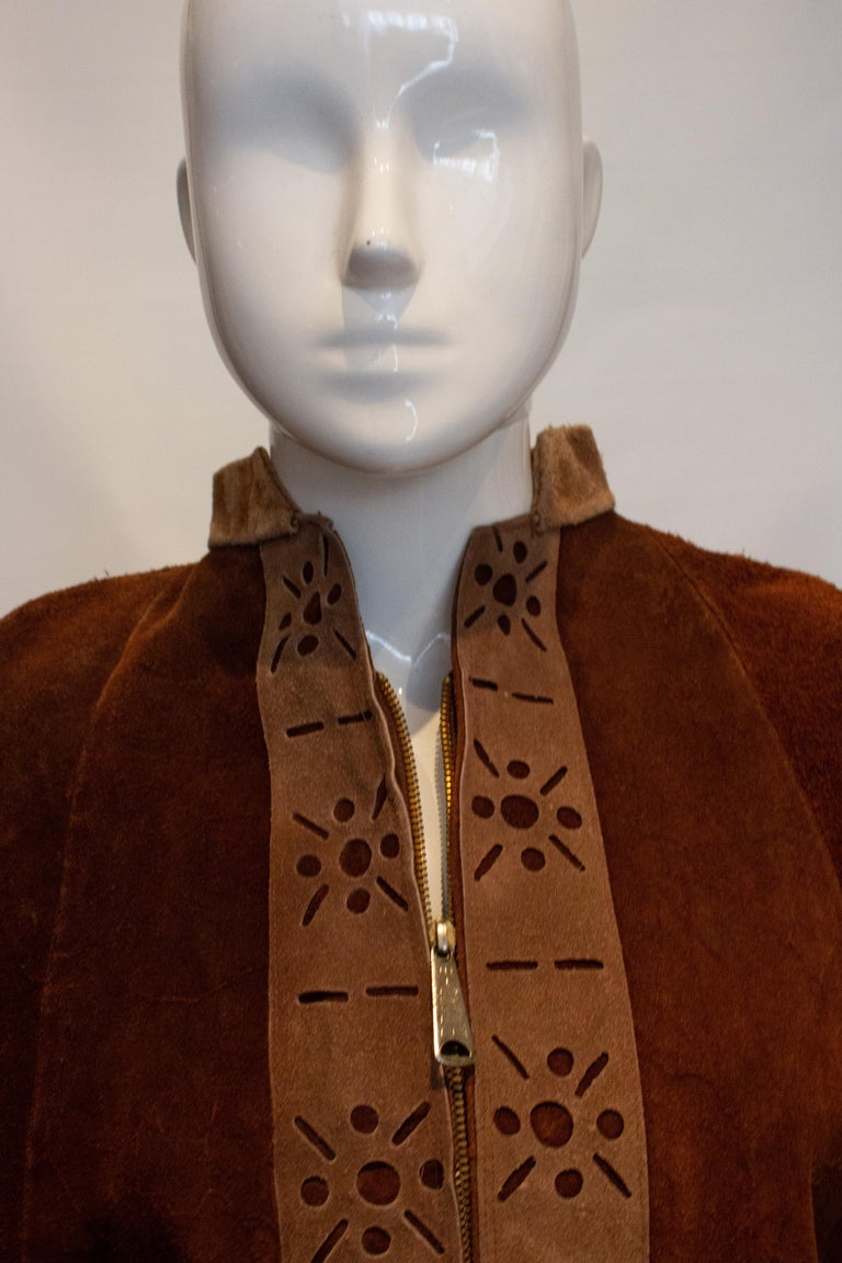 Women's Vintage 1970s Brown Suede Cape For Sale